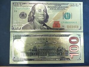 REPRODUCTION BILLET OR FIN -   100 DOLLARS  USA   . ETAT NEUF !!