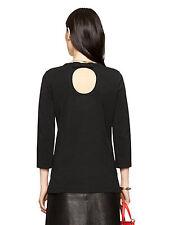 NEW KATE SPADE Cameo Keyhole Bow Back Party Long Sleeve Tee Shirt Top black XXS