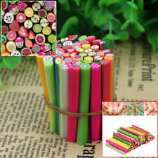 50Pcs 3D Fruit Fimo Polymer Clay Stick Cane Rods Nail Art Tips DIY Decoration