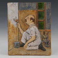 Westraven Utrecht, Luigi Amati: large heavy reliëf tile, painter. 70's.