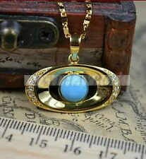 Turquoise 18k Gold plated Zirconia charm Pendant  with Matching 46cm link chain