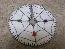 Hand made Flannel Felt Beads Embroider Applique HALLOWEEN  Spider Web TREE SKIRT