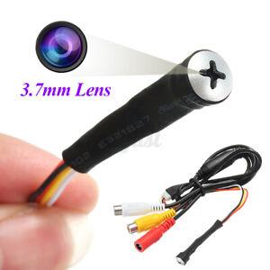 3.7mm Mini Screw Pinhole Camera Hidden 800TVL HD Micro 12V DVR Video 52db CCTV