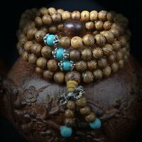 New 108 Wenge Prayer Beads Turquoise Tibetan Buddhist Mala Buddha Bracelet 6mm