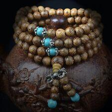 New 108 Wenge Prayer Beads Turquoise Tibetan Buddhist Mala Buddha Bracelet 6mm