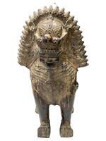 "Vintage Thai Hollow Metal Temple Guardian / Singha Lion 21"" large 14lbs"
