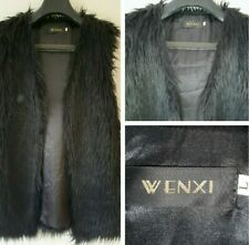 Wenxi Womens Black Faux Fur Open Gilet Large Size