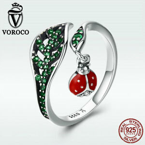 Voroco Real 925 Sterling Silver Open Ring With Ladybug Pendant Green CZ Jewelry
