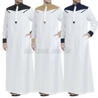 Men Muslim Long Kaftan Saudi Arab Islamic Clothing Long Sleeve Thobe Robe Dress