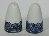 VIntage White W/Blue Print Design Salt And Pepper Shakers - White and Blue decor