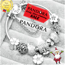 Authentic PANDORA CHARM Bracelet Bangle Silver White LOVE with European Charms