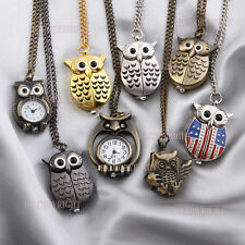 Cute Owl Shape Pocket Watch Quartz Arabic Numerals Necklace Vintage Watch
