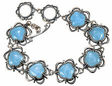 "Carolyn Pollack Aquamarine Sterling Silver Toggle 7-1/2"" Adjustable Bracelet"