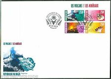 NIGER 2013 VOLCANOES & MINERALS  SHEET OF FOUR FIRST DAY COVER