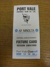 1989/1990 Port Vale: Accesorio oficial Folleto-cuatro páginas (sin brillo, con res