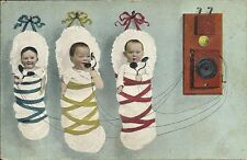 Early Postcard, Early Telephone, 3 Babies Hanging from wall on Line