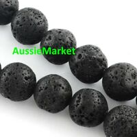 50 x loose natural lava stone rock 8mm beads black jewellery jewelry crafts new