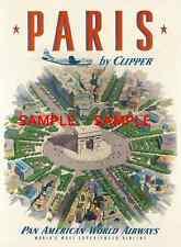 """Pan American Air Lines 8.5"""" X 11""""  Travel Poster  - [ Paris ]  -"""