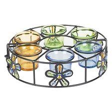 MULTI COLOURED ROUND PARASOL 6 TEALIGHT HOLDER FLOWER DESIGN GARDEN TEA LIGHT