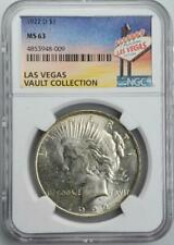 1922-D Peace Silver Dollar NGC MS 63 Las Vegas Vault Collection Home of Binion