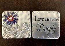 "Ganz ""Love Each Other Deeply"" Scripture Token/Pocket Charm Purple Flower w/Card"