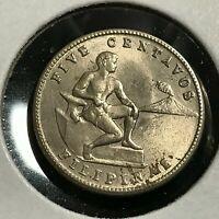 1944  PHILIPPINES 5 CENTAVOS BRILLIANT UNCIRCULATED COIN