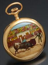 Rare El Toro Bull Fighting Scene Enameled Case Elgin Pocket Watch w/ Fancy Dial