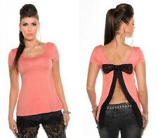 8a5847f63f07 T-shirt ROSA donna TOP maglietta con spacco PIZZO e FIOCCO schiena scoperta  S