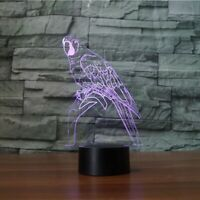 3D night light parrot illusion lamp table desk 7 color LED lighting kids optical