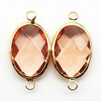 2Pcs Wrapped Faceted Pink Crystal Oval 25x13x6mm Pendant Bead DW59