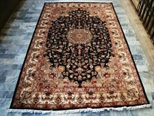 Mid Night Black Hand Knotted Rug Carpet Silk Wool (8 x 5)'