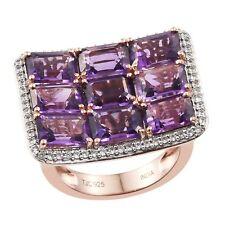 African Amethyst And Natural White Zircon Gemstone Is A Rose Gold Rhodium Plated