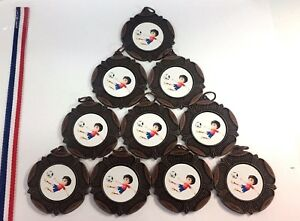 Football Kids Party Metal Medals With Ribbons X 10