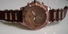 Men's Rose Gold Finish Glitter Dial/Brown Rubber Silicon Band Fashion Watch