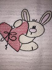 Embroidered Kitchen Bar Hand Towel- Easter Bunny w  Red Heart  BS0907