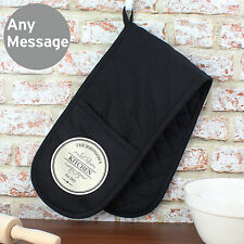 Personalised Double Oven Gloves Mitt - Family Baker Chef Cooking Gift - Black