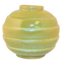 Frankoma Pottery 1940s Prairie Green Ringed Art Deco Vase No. 500