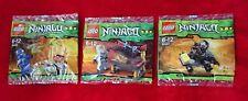 "LEGO Ninjago ""JAY, ZANE, COLE ZX"" Minifigures 30085+6+7 New Sealed Promo Polybag"