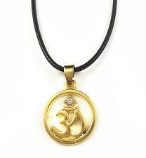 Yellow Gold Plated Buddha Yoga Mantra Meditation Pendant Om Necklace