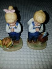 """Time for Thanks"" 2 Figurines Homco Home Interiors Denim Days 1985 #1506"