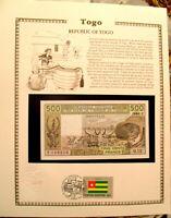 West African Togo Banknote 1984 500 Francs UNC w/FDI UN FLAG STAMP P 806Tg  Q.12
