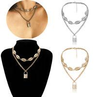 Jewelry Gold Silver Shell Necklace Punk Choker PadLock Pendant Collar Statement