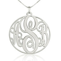 Large Circle Monogram Necklace - Sterling Silver 1.5″ Personalized Name Pendant