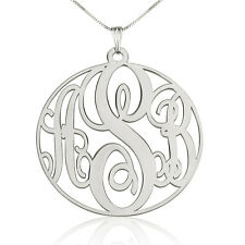 Medium Circle Monogram Necklace - Sterling Silver 1.2″ Personalized Name Pendant