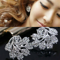 Women Fashion Luxury Full Shining Rhinestone Feather Earrings Party Jewelry Z FS