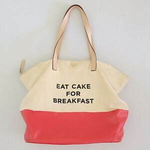Kate Spade Eat Cake For Breakfast Tote Shopping Bag Canvas & Cow Leather Handles