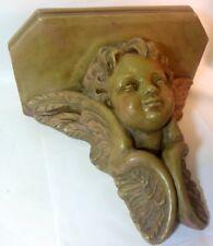 Vtg CUPID ANGEL Putto Wall Shelf Sconce Plaster Alva Italian Baroque Chic