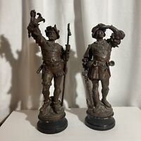 "Antique Spanish Explorers Spelter Statues -21"" & 19"" Tall -Fine Detail -Pair 2x"