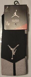 Nike Mens Air Jordan Dri-Fit Crew Socks Black/Grey 530977 012 Size 8-12