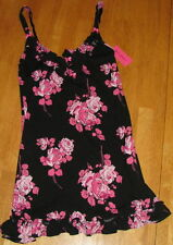 NWT BETSEY JOHNSON LUSCIOUS LITE BLACK/PINK ROSE SLIP SMALL $59